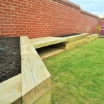 Raised bed areas, seating and decked area.
