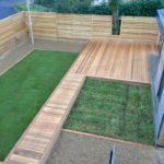 Ceder deck, garden pod with sedum green roof, Larch bespoke fence, natural turf & wild flower turf areas.